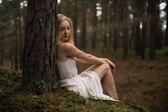 De mooie jonge zitting van de blondevrouw in bosnimf in witte kleding in altijdgroen hout royalty-vrije stock afbeeldingen