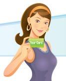 De mooie Kaart van de Holding van het Meisje Royalty-vrije Stock Fotografie