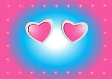 De mooie kaart van de Liefde met Twee Harten Stock Fotografie
