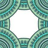 De mooie kaart van het krabbelornament Hand getrokken blauwe huwelijksuitnodiging Leuk Kleurrijk Frame Royalty-vrije Stock Afbeeldingen