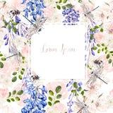 De mooie kaart van het waterverfhuwelijk met rozen en wisteriabloemen vector illustratie