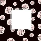 De mooie kaart van het waterverfhuwelijk met rozenbloemen royalty-vrije illustratie
