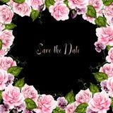 De mooie kaart van het waterverfhuwelijk met rozenbloemen en viooltje vector illustratie