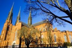 De mooie kathedraal van Uppsala in Zweden royalty-vrije stock foto