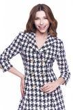 De mooie kleding van de het haarslijtage van de glamour sexy vrouw donkere donkerbruine Stock Foto's