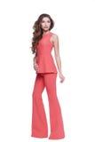 De mooie kleren van de het haarslijtage van de glamour sexy vrouw donkere donkerbruine Stock Afbeelding