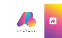 De Mooie Kleuren van ab Logo Letter With Rainbow Vibrant Kleurrijk t Royalty-vrije Stock Afbeeldingen