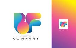 De Mooie Kleuren van BF Logo Letter With Rainbow Vibrant Kleurrijk t Royalty-vrije Stock Afbeeldingen