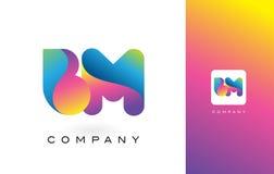 De Mooie Kleuren van BM Logo Letter With Rainbow Vibrant Kleurrijk t Royalty-vrije Stock Fotografie
