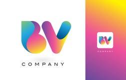 De Mooie Kleuren van BV Logo Letter With Rainbow Vibrant Kleurrijk t Royalty-vrije Stock Foto