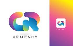 De Mooie Kleuren van gr. Logo Letter With Rainbow Vibrant Kleurrijk t Stock Fotografie