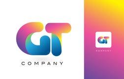 De Mooie Kleuren van GT Logo Letter With Rainbow Vibrant Kleurrijk t Royalty-vrije Stock Fotografie