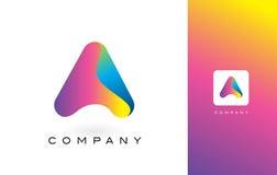 De Mooie Kleuren van Logo Letter With Rainbow Vibrant Kleurrijk RT Stock Afbeelding