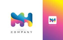 De Mooie Kleuren van MH Logo Letter With Rainbow Vibrant Kleurrijk t Royalty-vrije Stock Foto
