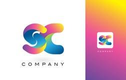 De Mooie Kleuren van Sc Logo Letter With Rainbow Vibrant Kleurrijk t Stock Afbeeldingen