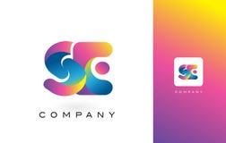 De Mooie Kleuren van SE Logo Letter With Rainbow Vibrant Kleurrijk t Stock Foto