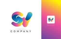 De Mooie Kleuren van SV Logo Letter With Rainbow Vibrant Kleurrijk t Stock Foto