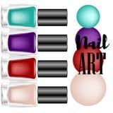 De mooie kleurrijke advertenties van de spijkerlak, de elementen van de glasfles, realistische vector Royalty-vrije Stock Foto