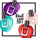 De mooie kleurrijke advertenties van de spijkerlak, de elementen van de glasfles, realistische vector Royalty-vrije Stock Foto's