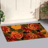 De mooie Kleurrijke deurmat van Rose Flower Printed Welcome zute buiten huis met gele bloemen en bladeren royalty-vrije stock fotografie