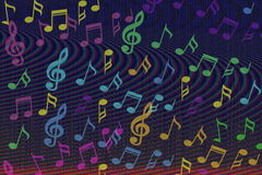 De mooie kleurrijke Muziek neemt nota van achtergrond Stock Afbeelding