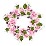 De mooie kroon van het waterverfhuwelijk met bloemen van roze en viooltjes royalty-vrije illustratie