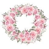 De mooie kroon van het waterverfhuwelijk met eucalyptus en rozen vector illustratie