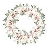 De mooie kroon van het waterverfhuwelijk met eucalyptus, katoen en bladeren royalty-vrije illustratie