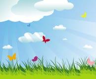 De mooie lente/de zomerachtergrond en vlinders Royalty-vrije Stock Afbeelding