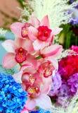 De mooie lichtrose achtergrond van cymbidiumorchideeën stock foto's