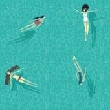 De mooie meisjes in het duidelijke overzees baden en duiken Vector Illustratie