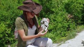 De mooie meisjesarcheoloog inspecteert de schedel van binnenlandse schapen of een geit dichtbij de regelingen van oude mensen stock footage