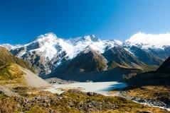 De mooie mening en de gletsjer in Onderstel Cook National Park, Zuiden zijn Royalty-vrije Stock Foto