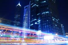 De Mooie mening van de nacht van de Stad van Shanghai Royalty-vrije Stock Afbeeldingen