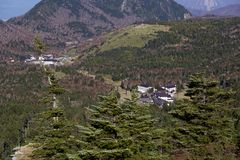 De mooie mening van Shibu-pas Shiga Kogen in Japan stock foto's
