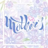 De mooie met de hand geschreven dag van de tekst Gelukkige moeder ` s met hart, geklets royalty-vrije illustratie