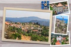 De mooie momentopnamen van diverse landschappen van Cyprus, dorpen, klooster in houten kaders schikten op rustieke achtergrond Royalty-vrije Stock Fotografie