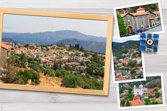 De mooie momentopnamen van diverse landschappen van Cyprus, dorpen, klooster in houten kaders schikten op rustieke achtergrond Stock Afbeelding
