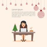 De mooie mooie onderneemster van het beeldverhaalkarakter De elegante medewerker van de meisjessecretaresse Vrolijke Kerstmis en  Royalty-vrije Stock Afbeeldingen