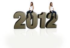De mooie Multiraciale Zitting van het Meisje op 3-D 2012 Royalty-vrije Stock Fotografie