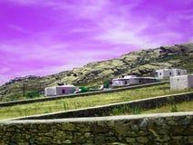 De mooie Myconos-achtergrond van eilandgrecce stock foto's