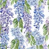 De mooie naadloze bloemenachtergrond van het de zomerpatroon met tropische bloemen, wisteria vector illustratie