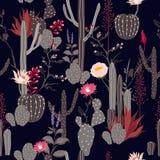 De mooie naadloze cactus van de patroon donkere kleur met wildernisbloemen vector illustratie