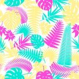De mooie naadloze tropische achtergrond van het wildernis bloemenpatroon met palmbladen Pop-art Trendy stijl Heldere kleuren Stock Fotografie