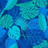 De mooie naadloze tropische achtergrond van het wildernis bloemenpatroon met verschillende palmbladen stock illustratie
