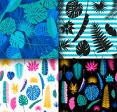 4 de mooie naadloze tropische achtergrond van wildernis bloemenpatronen met verschillende palmbladen reeks vector illustratie