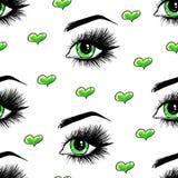De mooie open vrouwelijke groene ogen met lange wimpers is op een witte achtergrond Naadloos patroon voor ontwerp stock illustratie
