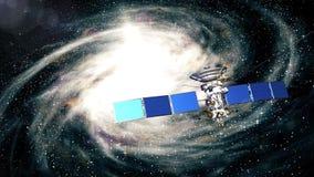 De mooie realistische satelliet vliegt voorbij de melkweg royalty-vrije illustratie