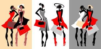 De mooie Retro geplaatste vrouwen van de Manier. Royalty-vrije Stock Afbeeldingen