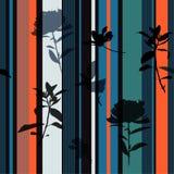 De mooie retro Naadloze druk van de de zomerstreep op Hand Getrokken zwart silhouetbloem en van het bladerenpatroon vectorontwerp stock illustratie